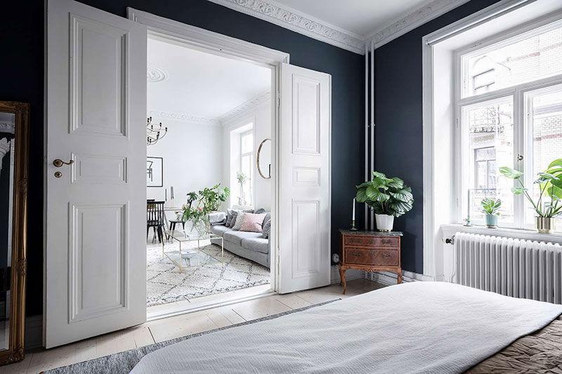 Светлая квартира с тёмной спальней в Гётеборге