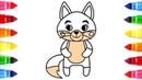 How to draw cartoon fox coloring page for kids | Fox Drawing and coloring video Step by step