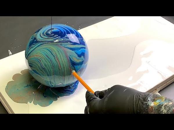 Рисование акрилом, техника с пенопластовым шаром