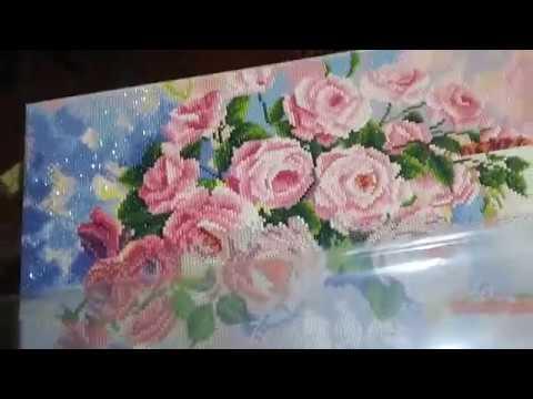 Процес работы над натюрмортом Розы алмазная вышивка