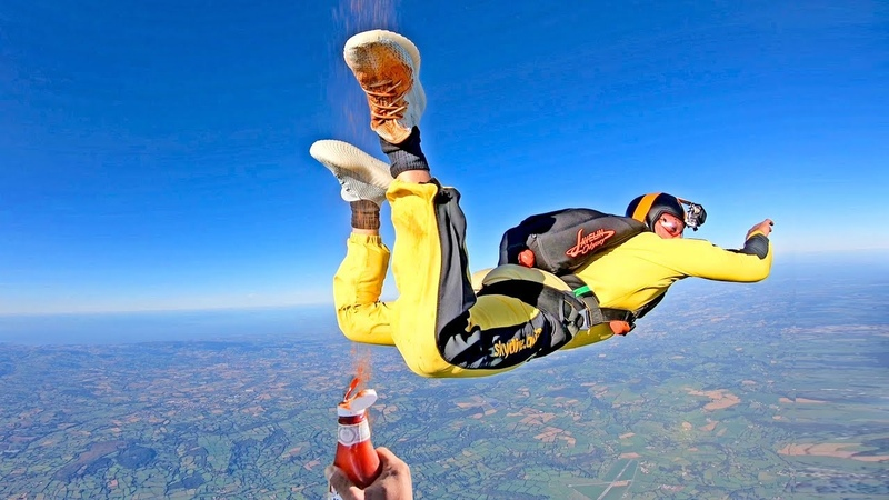 Skydiving with YEEZY Boost 350 V2 CLOUD WHITE Spraying Ketchup at 180MPH 4K EXTREME CLEAN