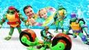 Игрушки для детей! Черепашки-ниндзя, Барон Драксум и МУТАНТЫ в бассейне. Эволюция Черепашек-ниндзя
