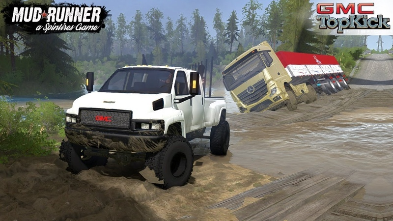 Spintires MudRunner GMC TOPKICK Pulls out a Mercedes Truck