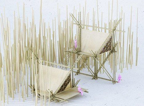 Design collective Penda has developed a concept for a flexible, portable hotel made from rods of bamboo, designed to bring guests closer to nature