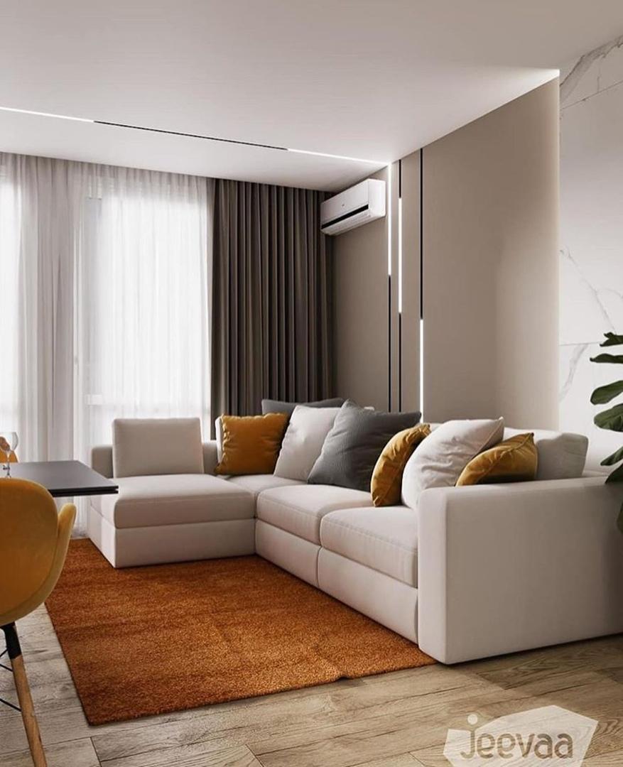 Квартира с ярко-оранжевыми акцентами