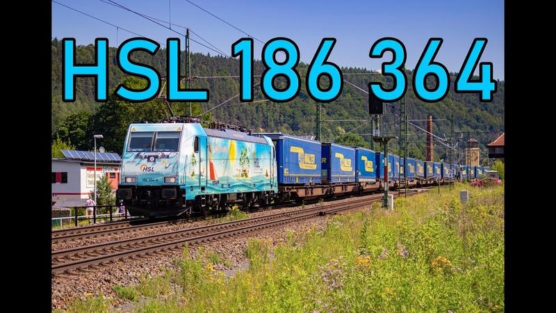 HSL 186 364 WaveRider met LKW Walter intermodaal door Königstein 4K
