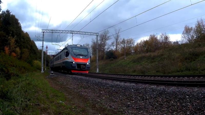Электропоезд ЭП2Д-0007 ЦППК перегон Нара-Латышская 21.09.2019