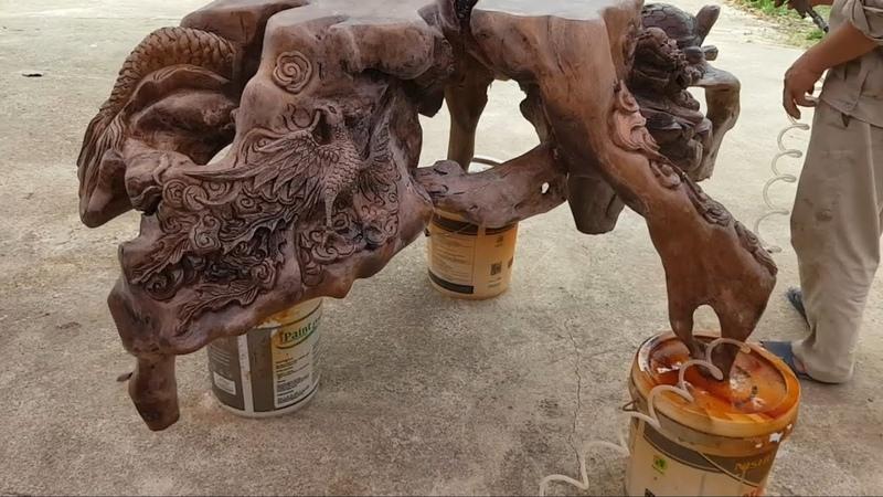 Woodcarving cách làm tượng dê sư tử và sóc nho gốc cây