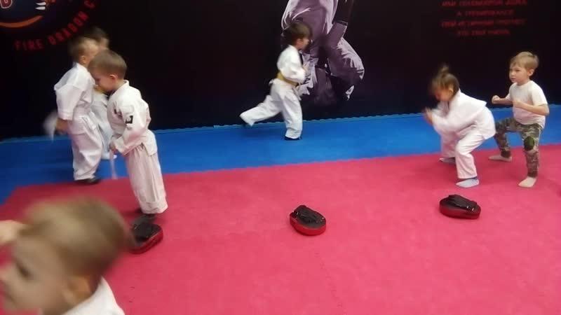 Комплексная тренировка единоборствами с детьми 4-5 лет. Ч.3.