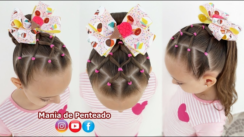 Penteado Fácil com Ligas Coque ou Amarração Easy Bun or Ponytail Hairstyle for Little Girls 🥰