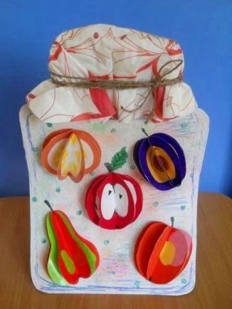 Поделка компот из фруктов Такую поделку в виде банки с компотом с наклеенными объемными аппликациями фруктов можно сделать с детьми школьного возраста из бумаги. Основу для поделки банку