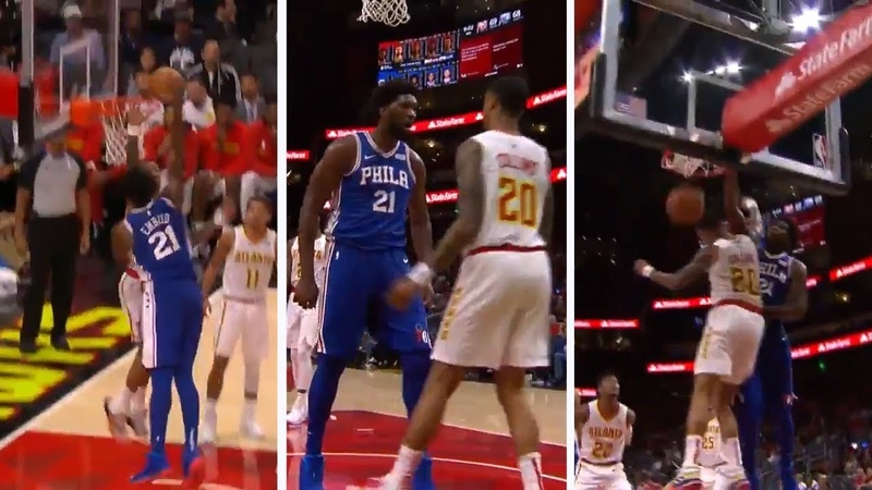 Joel Embiid SAVAGE DUNK On John Collins HEAD NBA Sixers ESPN