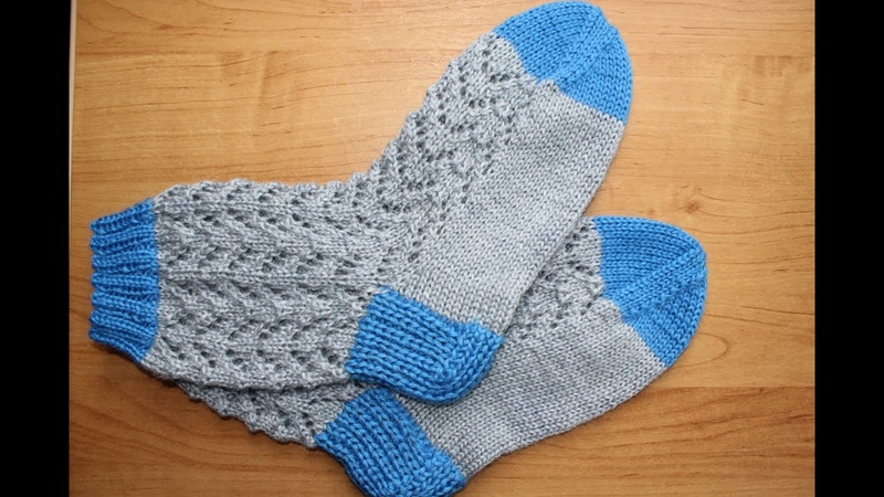 Вязание носков узором елочка