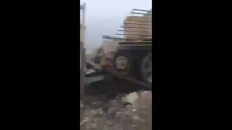 Rebels destroyed in Kibene, Latakia province, an armoured vehicle of Assad regime forces. Syria