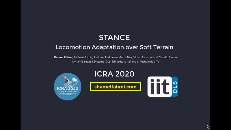 [ICRA20 Presentation] STANCE Locomotion Adaptation over Soft Terrain