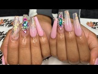 Pink Glitter Acrylics w/ Swarovski | Long Coffin Full Set | Acrylic Nails Tutorial | Hand Filing