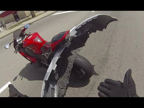 Ultimate Fender Bender ! Bumper Lodges Into Back of Motorcycle After Crash
