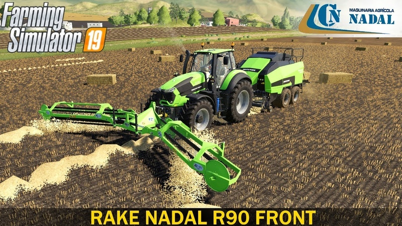 Farming Simulator 19 - RAKE NADAL R90 FRONT Swath with a Working Width of 10.6 Meters