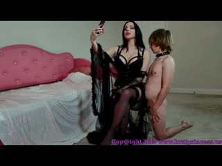Alexandra Snow - Nephew Begs Auntie Snow For Chastity Release Femdom, Humiliation, Spanking, Brunette, Stockings, Chastity