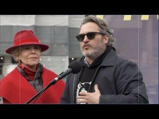 """Joker'' star Joaquin Phoenix protests climate change with Jane Fonda"