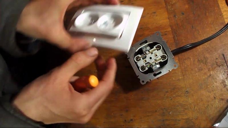 как подключить двойную розетку MAKEL к 220В