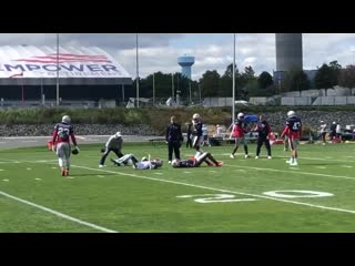 Patriots defenders working on tackling spinning ball-carriers