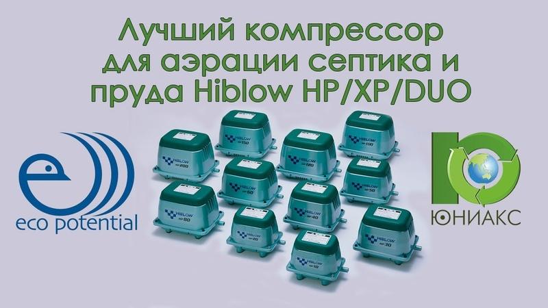 Лучший компрессор для аэрации септика и пруда Hiblow HP XP DUO от Юниакс