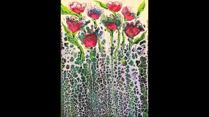 DA69 Acrylic Swipe w White Peacock Colors into Fantasy Garden with Sandra Lett 053118