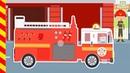 Машины убегают от большого пожара. Мультик как пожарные машины тушат огонь. Мультфильм про Машинки