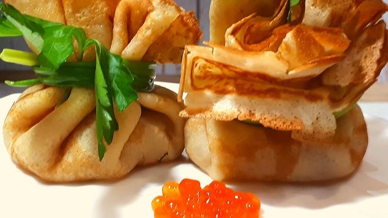 Русские Блины с Красной Икрой Russian pancakes with red caviar
