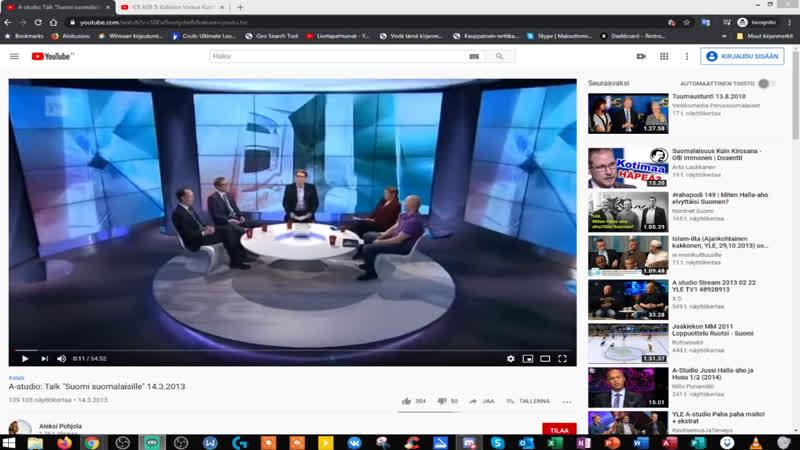 A studio Talk Suomi suomalaisille 14 3 2013 Jussi Halla aho Olli Immonen Dan Koivulaakso Marianne Lydén