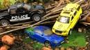 Мультики про машинки. Полиция и Автокран спасают Джип и Гоночную машинку из болота. 2
