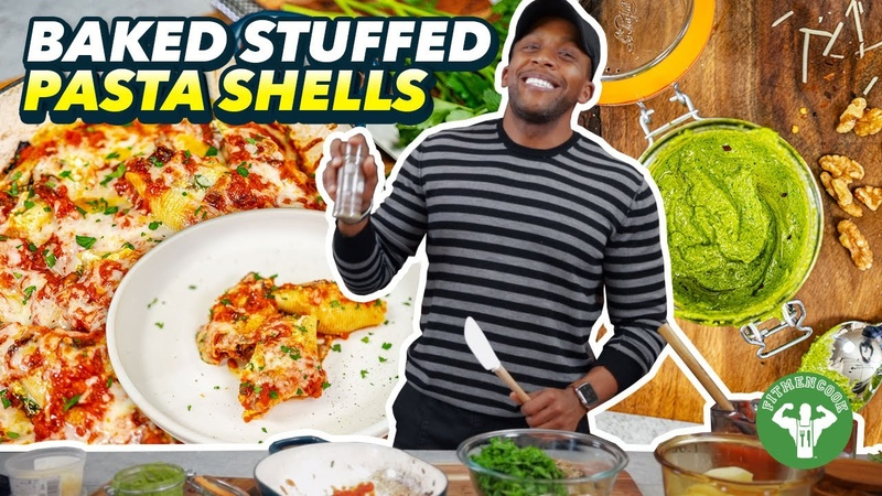 Meatless Monday - Baked Stuffed Pasta Shells - Ricotta, Kale Pesto