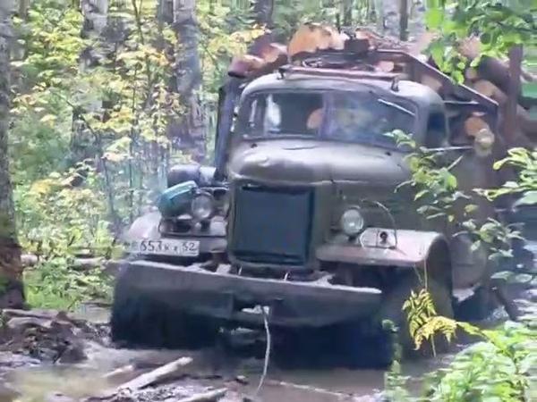 Вывозка леса по бездорожью на ЗИЛ 157 с дизелем от трактора Беларус