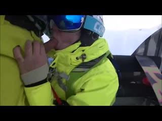Mia Bandini-Public cumshot on mouth in ski lift