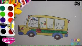 Cómo Dibujar y Colorear Autobus Escolar 2020 🌷 Niños🌷 How To Draw school bus 🌷Kids 🌷 #ATLASTUDELA