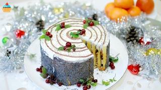 """Новогодний ТОРТ """"ТРУХЛЯВЫЙ ПЕНЬ"""" - ну, оОчень вкусный! Простой рецепт домашнего сметанного торта."""
