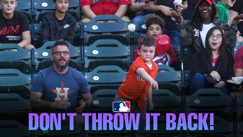 Kid throws Alex Bregman HR ball back as father tells him not to