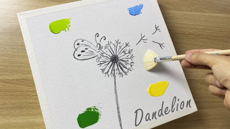 Daily Challenge 52 Butterfly On Dandelion Acrylic Painting