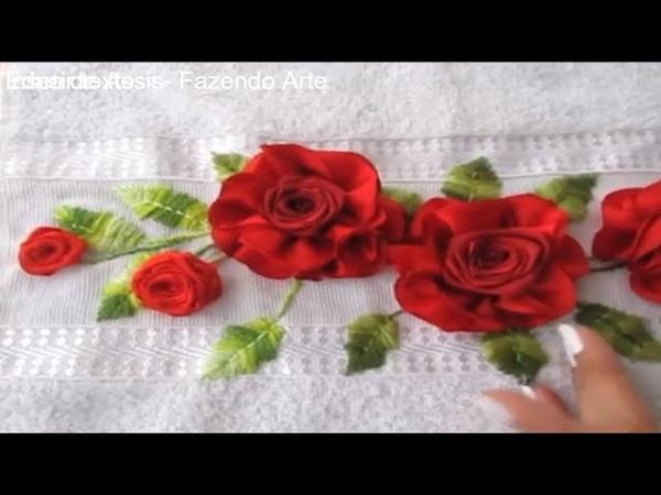 Bordado com fita- Flor para aplicar em toalhas tiaras ou vender avulsas