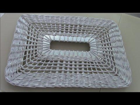 Ажурное плетение прямоугольной крышки для бельевой корзины. Интересные и необычные бортику у крышки.