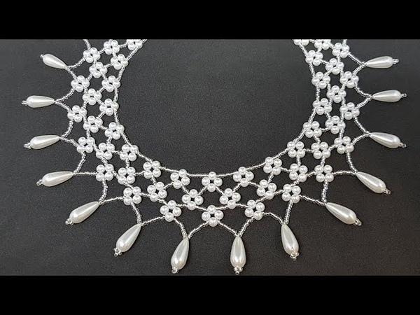 Жемчужное колье/Pearl necklace/Колье из бисера и бусин/Колье своими руками/Жемчужное ожерелье/DIY