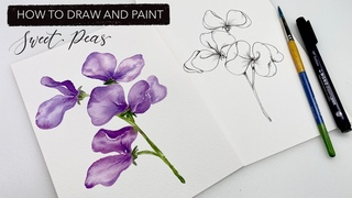 Watercolour Sweet Peas: How To Draw And Paint APRIL'S Birth Month Flower