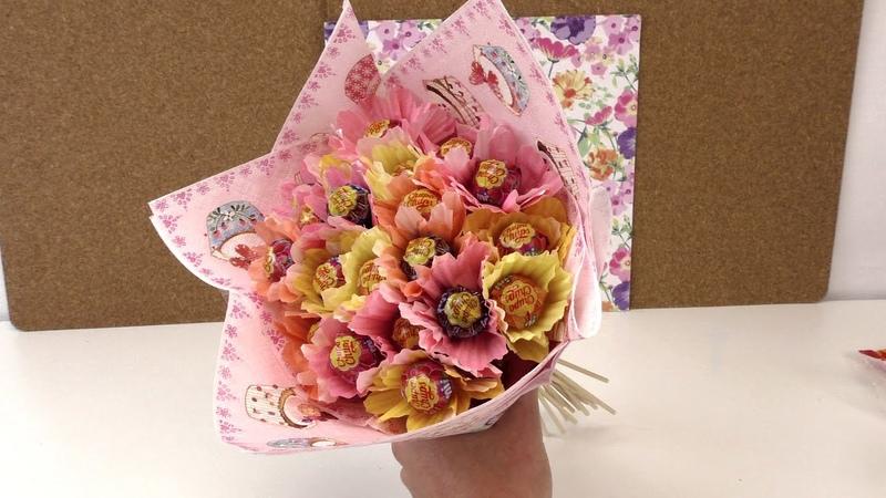 Blumenstrauß aus Chupa Chups DIY Geschenkidee Süßigkeitenblumen Candy Bouquet deutsch