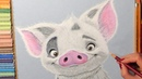 Drawing Pua Pig from Moana. Soft Pastel.