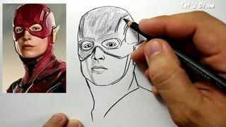 ASMR drawing FLASH , How to draw hero justice league zack snyder cut