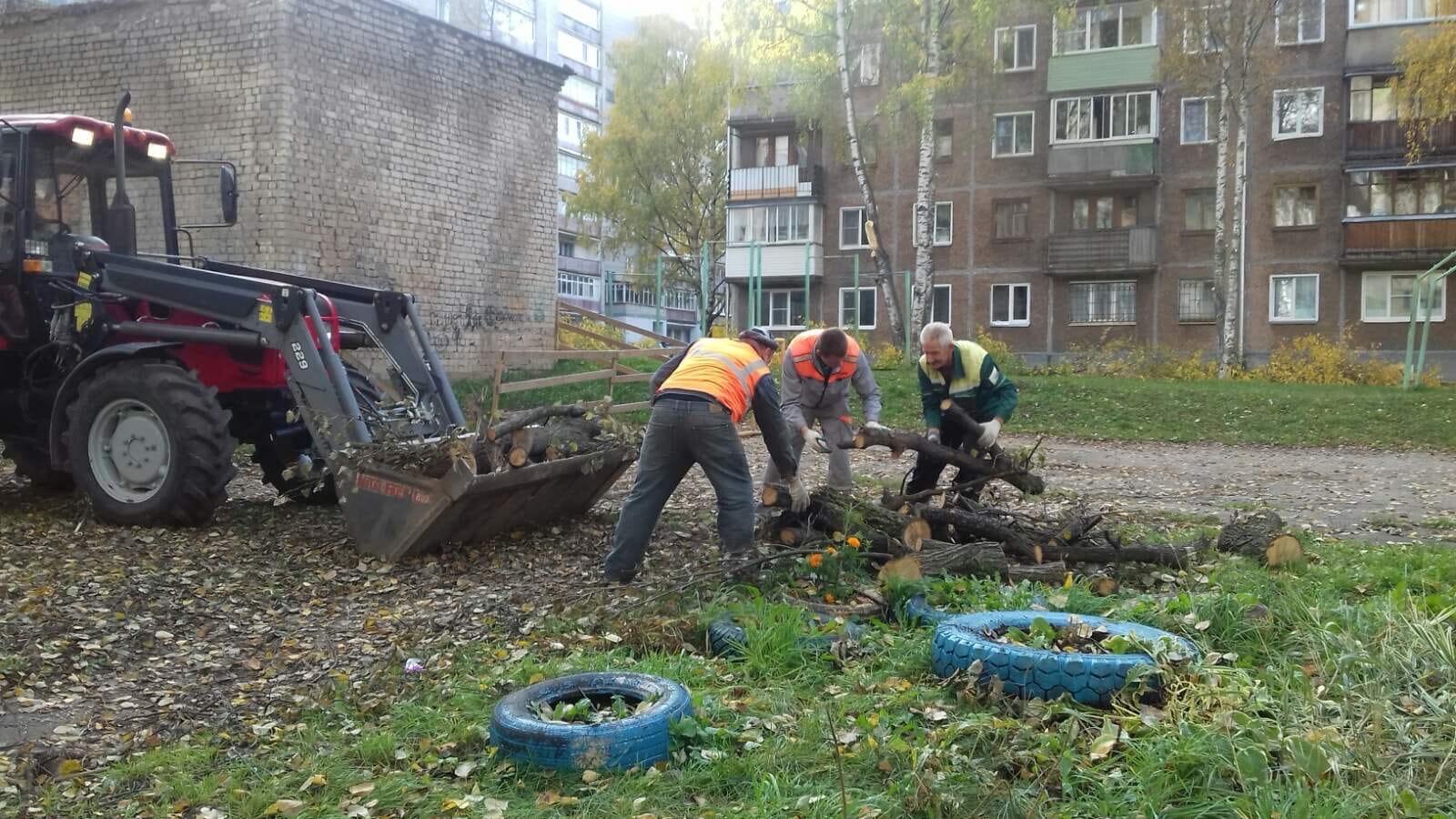 Ул. К. Либкнехта, 37. Вывоз тюлек деревьев.