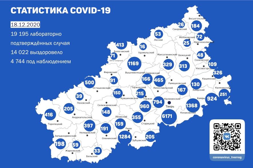 233 человека заболели коронавирусом в Тверской области к 18 декабря