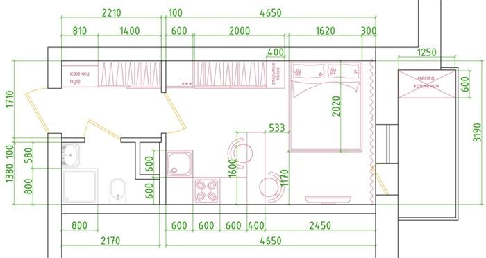 Проект маленькой квартиры-студии 22 кв.