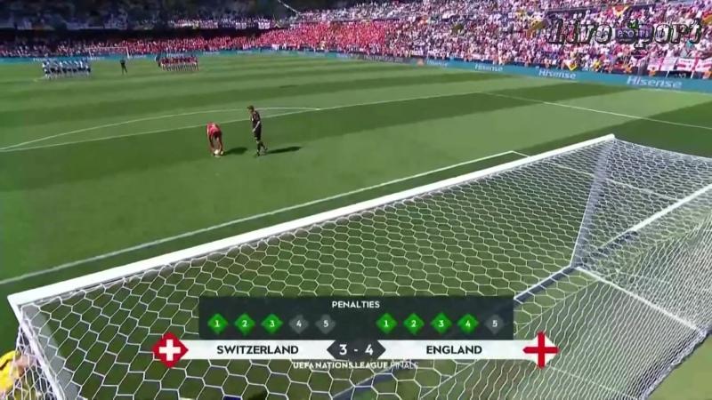 دوري الأمم الأوروبية انكلترا وسويسرا المركز الثالث والرابع من ركلات الترجيح من علامه الجزاء 9 6 2019